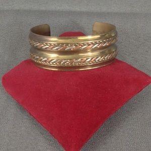 Jewelry - Vintage Brass Cuff Tri Color Silver Copper